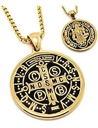 BOBIJOO Jewelry - Pendentif Médaille de Saint-Benoît Exorcisme Protection  Acier Plaqué Or + Chaîne 16522604528