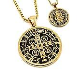 BOBIJOO Jewelry - Colgante Medalla de San Benito el Exorcismo de Protección Chapado en Oro de Acero + Cadena
