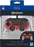 Manette Lumineuse Rouge Filaire pour PS4 Nacon