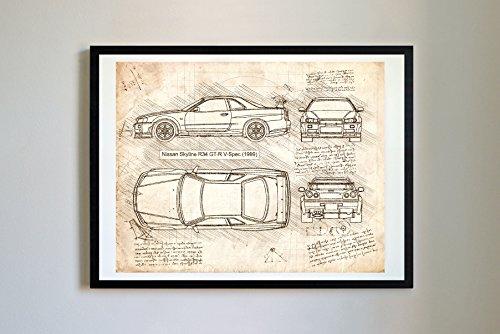 DolanPaperCo #178 Nissan Skyline R34 GT-R 1999 Kunstdruck, da Vinci Sketch, ungerahmt, Verschiedene Größen/Farboptionen (11 x 14, Vintage)