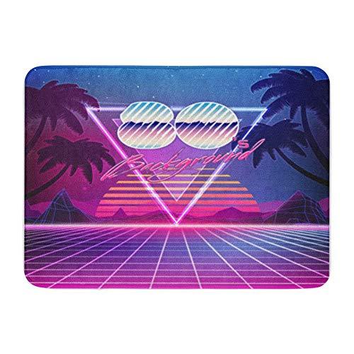 Badematte Flanell Stoff weich saugfähig 80er Jahre Retro Sci Fi Sommerlandschaft futuristisch Synth Wave 1980er Jahre geeignet gemütliche dekorative Rutschfeste Memory Badezimmer Teppich