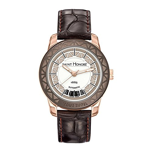 Women Watch Eiffel Tower Saint Honoré and Brown Leather Bracelet - STH - 797040 87GAEF - BLUE PEARLS