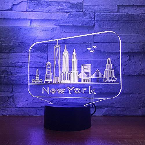 Klsoo New York 3D Nachtlichter Farbverlauf Bunten Touch Led-Licht Usb-Lade Hause Nacht Auge Tischlampe Kinder Geschenk