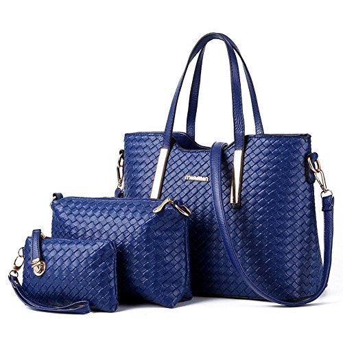 Sunroyal Set Borse Donna, modo dell'unità di elaborazione della borsa del cuoio + Shoulder Bag + Purse 3pcs Bag (Blu)