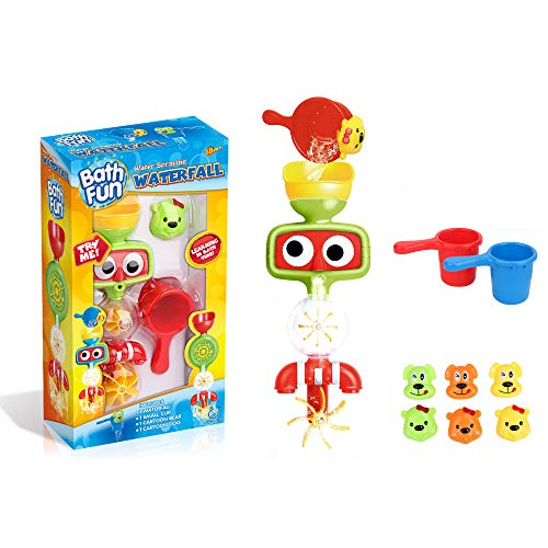 baby 1st Bath Toys for Toddlers - Water Spraying Waterfall with Cups (Robot Green) by