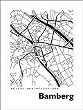 Poster 30 x 40 cm: Bamberg Stadtplan HF von 44spaces - Hochwertiger Kunstdruck, Neues Kunstposter