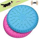 Scheibe Hund, Legendog 2 Stücke Weiches Gummi Hunde Scheiben Durable Training Hundespielzeug Set Interactive Outdoor Spielzeug für Große Hunde 23 CM (Blau Rosa)