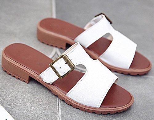 Frau Schnalle Sandalen Sommer Sandalen und Pantoffeln Wort Drag lässig mit niedrigen Absätzen Schuhe, Fischkopf White