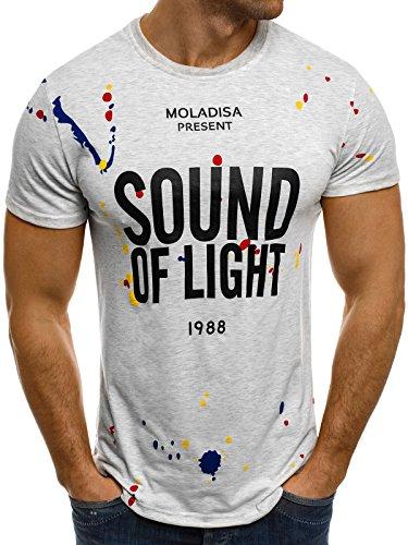 OZONEE Herren T-Shirt mit Motiv Kurzarm Rundhals Figurbetont J.STYLE SS010 Grau_J.STYLE-SS031