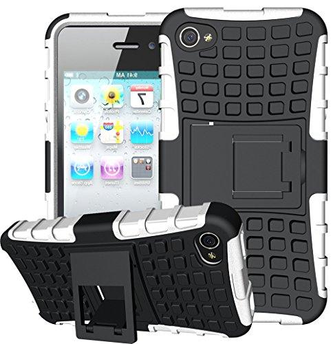 Preisvergleich Produktbild iPhone 4S Hülle Weiß, iPhone 4 Hülle, Outdoor Schutzhülle, Rüstung Serie Hohe Qualität Schutzhülle Muster Schutz Handy Hülle Case Back Cover Tasche Mit Ständer