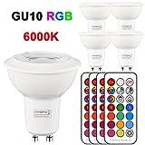 4Pack Decke Scheinwerfer Chrom LED RGB Weiß Licht Deckenleuchte Panel Bunte Beleuchtung Dimmbare GU10 Birnen 3W 6000K mit Fernbedienung (rgb 6000k)