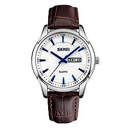 Skmei Classic Design Analog Watch -9125 Brown Genuine Leather