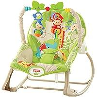 Fisher-Price Hamaca crece conmigo monitos divertidos, color verde, juguetes bebe (Mattel CBF52)