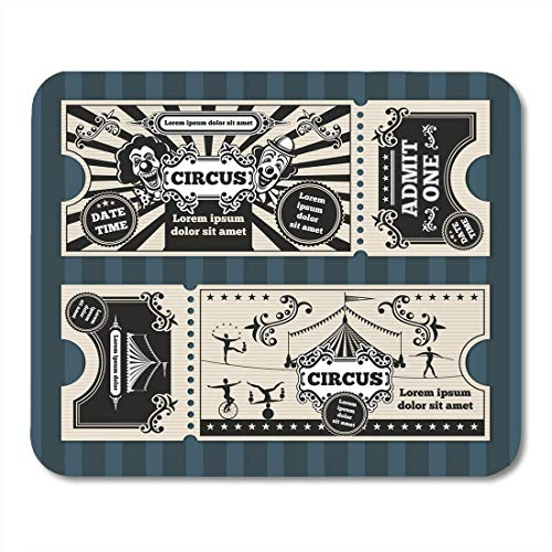 intage Birthday with Circus Tickets Carnival Party Coupon Retro Performer Mouse Pad for Notebooks,Desktop Computers Mouse Mats, Office Supplies ()