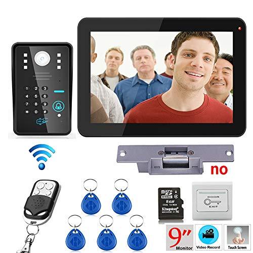 Hardwired Chime Kit (NBKLS Video-Türklingel 9 Zoll RFID-Passwort Aufzeichnung Video-Tür-Telefon Intercom 900TVL Kit/drahtlose Fernbedienung/Schockschloss/Ausstieg Taste)