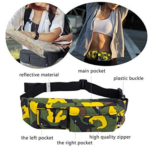 Jiele Premium impermeabile marsupio da corsa/cintura esercizio bag, borsa da running per uomo sport viaggi escursioni regolabile Cintura con tasche separate cintura esercizio, si applica a/denaro iPho Camouflage Yellow