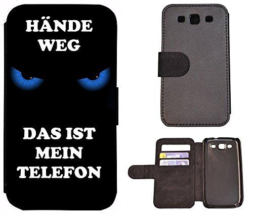 Schutz Hülle Flip Cover Handy Tasche Etui Case für (Apple iPhone 6 / 6s, 2011 Meins Finger Weg Rot Schwarz) 2007 Hände weg das ist mein Telefon Blau Schwarz
