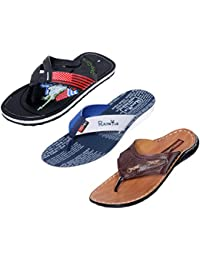 IndiWeaves Men Flip Flop House Slipper And Sandal-White/Tan/Black- Pack Of 3 Pairs