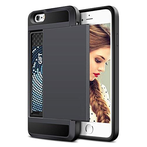 Armour Hartschale Ultra Slim Cover Schutzhülle mit Kartenfächern für das Apple iPhone 5/5S/SE mit Dunkelviolett von iPro Accessories® schwarz (5s Kartenhalter Fall Iphone)