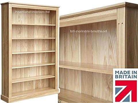 100% Solid Oak Bookcase, 6ft x 4ft Handcrafted Adjustable Storage