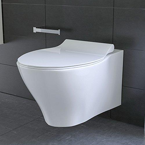 Spülrandloses Hänge WC Keramik Toilette ohne Spülrand inkl. Duroplast WC-Sitz mit Soft-Close / Quick Release Funktion passend zu GEBERIT - 4
