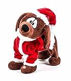 Weihnachtshund aus Plüsch, singt und tanzt, Batteriebetrieb, Größe ca. 25 cm