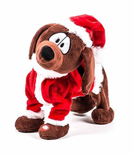 Christmas Gifts Weihnachtsmann Hund singt und Tanzt, Batteriebetrieb, Größe ca. 25 cm