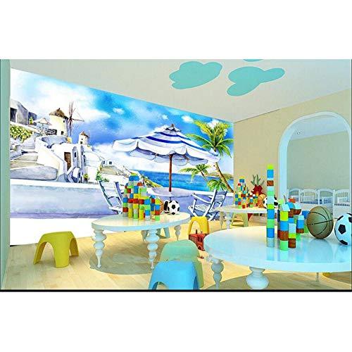 Guyuell Custom 3D Fototapete Kinderzimmer Wandbild Französisch Riviera Küstenstadt Hd Foto Raum Sofa Tv Hintergrund Vliestapete Mural-400Cmx280Cm - Sofa Riviera