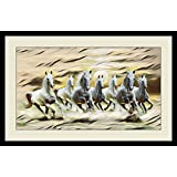 Seven Horses Painting With Frame For Vastu & Fengshui Showing SUNRISE And Horses Are In Right Direction As Per VASTU