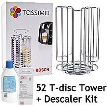 Rotación de Bosch Tassimo 52 T-Disc de la cápsula de titular de la torre + + líquido de la máquina de café de Bosch descalcificador para tabletas (52 Pod + ...