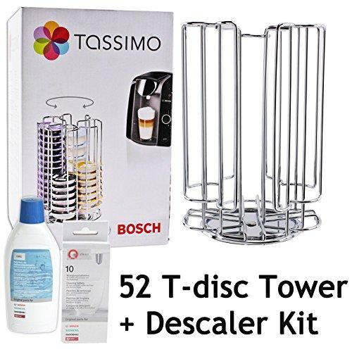 Rotación de Bosch Tassimo 52 T-Disc de la cápsula de titular de la torre + + líquido de la máquina de café de Bosch descalcificador para tabletas (52 Pod + kit dispensador de la torre de desincrustación)