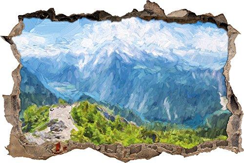 Blick vom Berg über dem Königssee in Bayern Kunst Pinsel Effekt Wanddurchbruch im 3D-Look, Wand- oder Türaufkleber Format: 62x42cm, Wandsticker, Wandtattoo, Wanddekoration - Effekte-pinsel