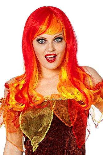 Damen Perücke Feuer Teufelin in rot-gelb Karneval - Feuer Kostüm