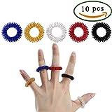Pulluo 10 stücke Akupressur Finger Massage Ring 5 Farben Elastizität Medizin Akupressur Ring Tragbare Metall Spiky Sujok Therapie Stressabbau für Männer Frauen Erwachsene Senioren