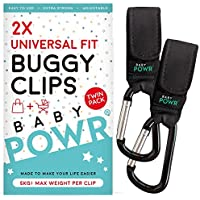 Buggy Clips by Baby POWR - Universal Fit Pram Hooks for Stroller or Pushchair. Securely Organise Your Bags, Baby Toys and Personal Belongings, 2 Pack