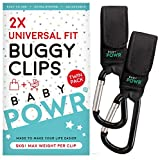 Buggy Clips (2 Pack) Universal Fit Pram Hooks for Stroller or Pushchair, by Baby POWR