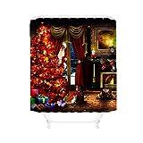 Duschvorhang Für Weihnachten, Ein Voller Weihnachtsbaum Und Ein Weihnachtsmann, Der Aus Dem Fenster Späht,Red,180X180cm