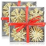 COM-FOUR Set di 24 Stelle di Paglia, Decorazioni per Alberi di Natale, Decorazione dell'albero di Natale, Ø 6 cm (24 Pezzi - 6 cm)