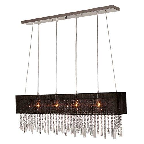 Dinggu™ Lampadario moderno a 4 luci, di cristallo, rettangolare, con paralume (Art Deco Di Cristallo)