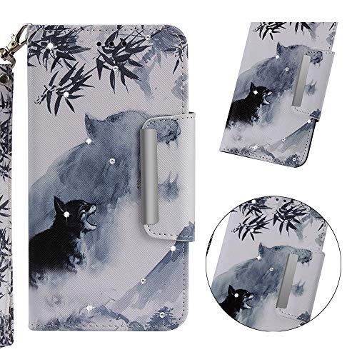 Galaxy S8 Plus Hülle,WIWJ Premium Tasche Cover Handyhülle[Point Drill Gemalt Holster mit Lanyard]Brieftasche Flip Case Lederhülle Schutzhülle Handyhüllen für Samsung Galaxy S8 Plus-Zieltiger
