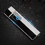 Wiber Briquet Electronique Rechargeable USB Coupe-Vent Tactile Capteur d'empreintes digitales Double Face Allumage Briquet sans Flamme pour Bougie Cigarette, Ice Black