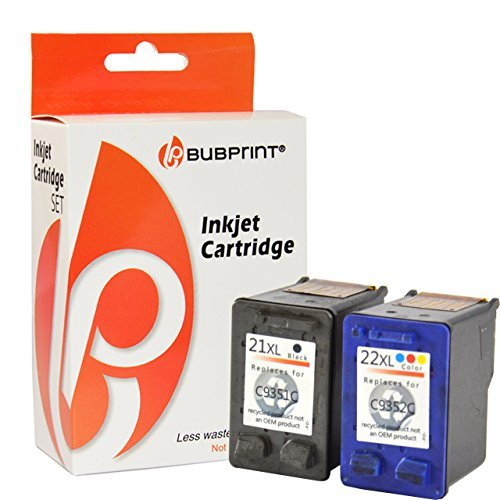 2 Druckerpatronen kompatibel für HP 22 XL + HP 21 XL