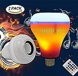 LED RGB Flammen Kabellos Bluetooth Lautsprecher Musik Glühbirne Licht E27 Musik Die Lampe mit Spielt Bunt (2 Pack)