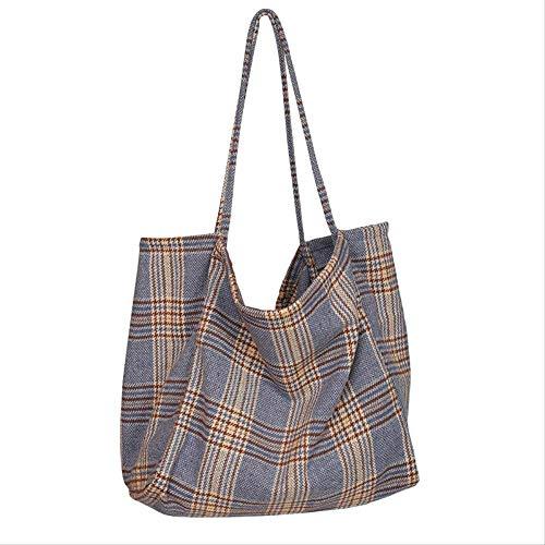 YEYU Japan und südkorea ins einfache große kapazität wolle plaid umhängetasche weibliche retro einkaufstasche 2 -