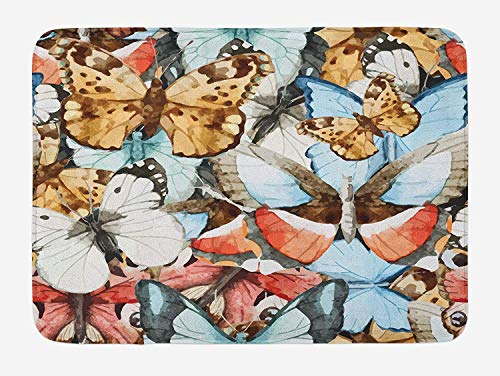 Butterfly Garden Seat (ASKYE Abstract Bath Mat, Butterfly Pattern Different Types Classic Summertime Garden Nature, Plush Bathroom Decor Mat with Non Slip Backing, 23.6 W X 15.7 W Inches, Blue Pale Brown Coral)