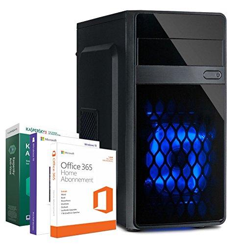 PC Office Computer - Intel Core 2x 2,58 GHz - 4 GB RAM - 500 GB - Intel HD Grafik - HDMI - USB 3.0 - Gehäuse mit LED - Windows 10 Pro + Kaspersky Internet Securtiy 2018 + Office 365 Personal