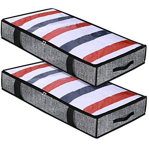Homyfort 2 pezzi pieghevole borsa di magazzinaggio sotto il letto per trapunte, coperte, vestiti di archiviazione, sacchetto di vestiti bagagli, with 4 maniglie, 100 x 50 x 15 cm, lino nero, xaubbp2