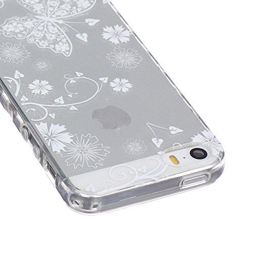 Ekakashop Coque pour Apple iphone 5/5s, Ultra Slim-Fit Flexible Souple Housse Etui Back Case Cas en Silicone pour iphone 5s, Soft Cristal Clair TPU Gel imprimée Couverture Bumper de Protection Extrême Papillon Blanc