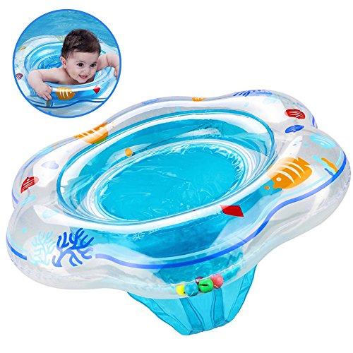 PLOEP Flotador de Anillo de natación de bebé con Asiento, Anillo de Piscina de natación Inflable de Cuidado de la Piel, Anillo de Flotador de baño de bebé para niño pequeño de 6 Meses a 36 Meses Azul