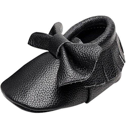 Fire Frog  Baby Fringe Shoes, Baby Mädchen Lauflernschuhe Schwarz